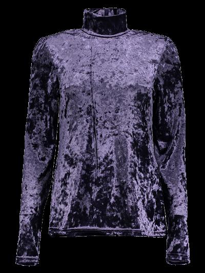 High Collar Long Sleeve Velvet Top - PURPLE L Mobile