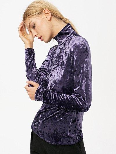 High Collar Long Sleeve Velvet Top - PURPLE S Mobile