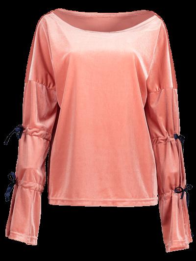 Boat Neck Split Sleeve Velvet Top - PINK XL Mobile