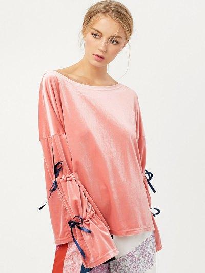 Boat Neck Split Sleeve Velvet Top - PINK M Mobile