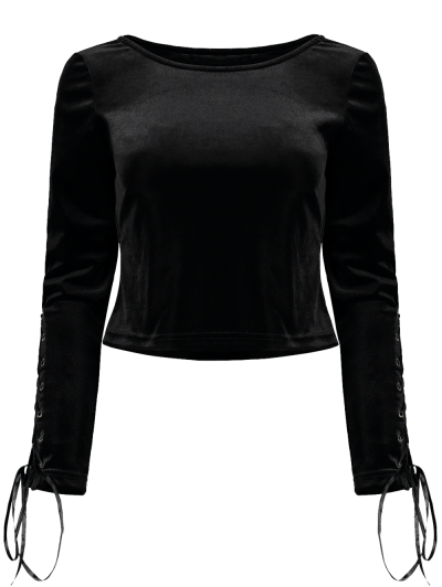 Boat Neck Lace Up Velvet Top - BLACK XL Mobile