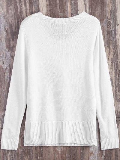 Lace Up V Neck Side Slit Sweater - WHITE XL Mobile
