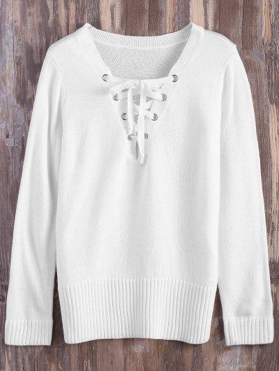 Lace Up V Neck Side Slit Sweater - WHITE L Mobile