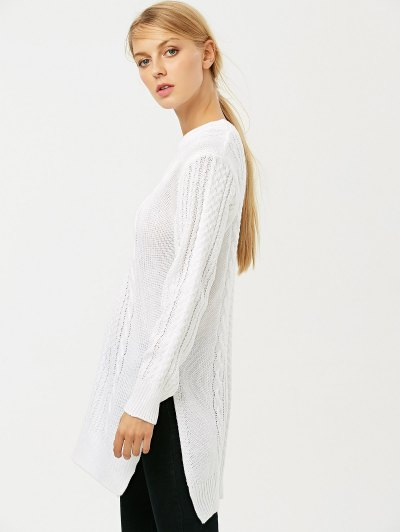 Cable Knit Side Slit Jumper - WHITE XL Mobile