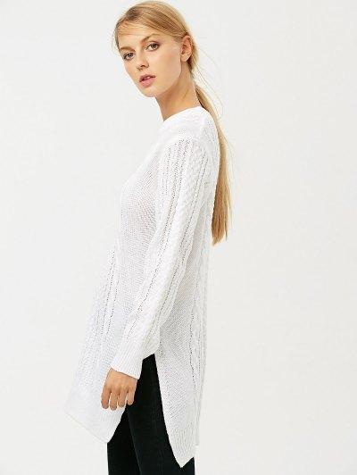 Cable Knit Side Slit Jumper - WHITE L Mobile