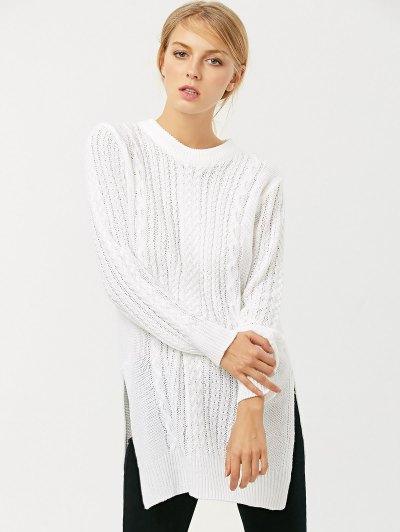 Cable Knit Side Slit Jumper - WHITE M Mobile