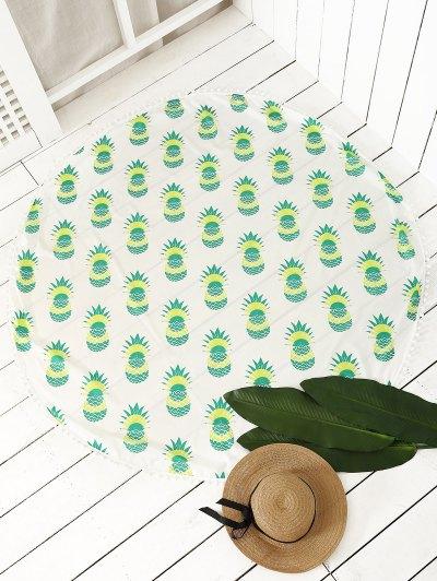 Pineapple Print Tassel Beach Throw - NEON GREEN ONE SIZE Mobile