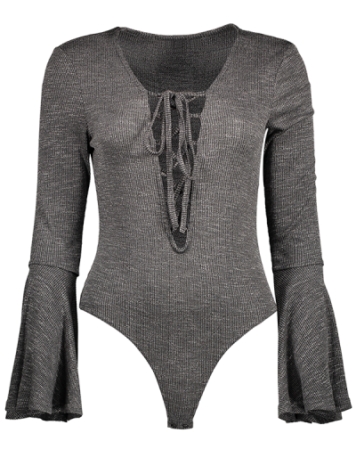 Bell Sleeve Lace Up Bodysuit - GRAY XL Mobile