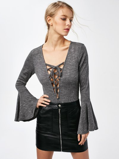 Bell Sleeve Lace Up Bodysuit - GRAY L Mobile