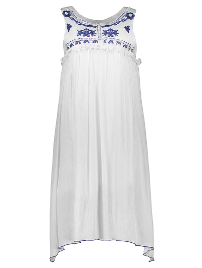 Hanky Hem Embroidered Bohemian Dress - BLUE AND WHITE XL Mobile