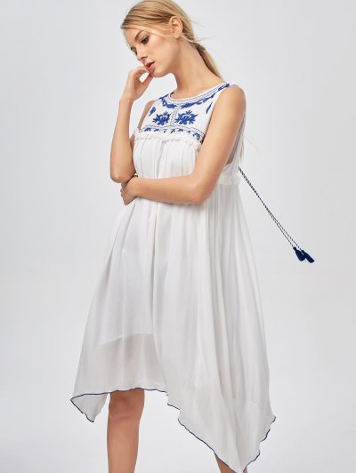 Hanky Hem Embroidered Bohemian Dress - BLUE AND WHITE L Mobile