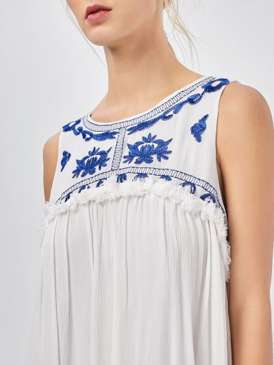 Hanky Hem Embroidered Bohemian Dress - BLUE AND WHITE S Mobile