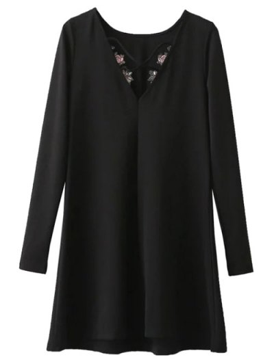 Flounced Embroidered Long Sleeve Dress - BLACK S Mobile