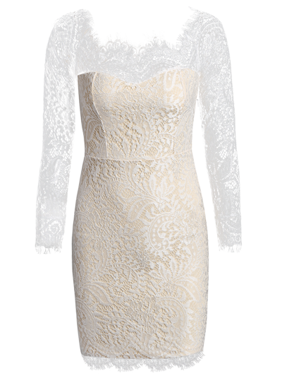 Off The Shoulder Bodycon Lace Dress - PALOMINO L Mobile