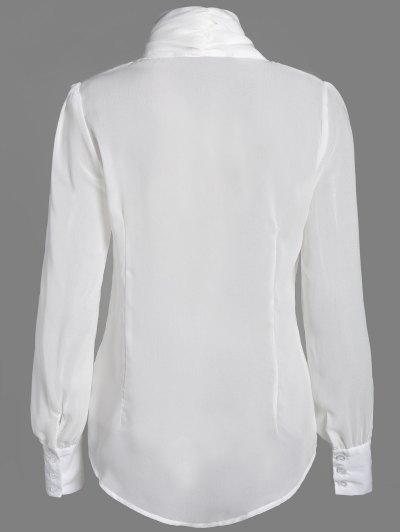 Bow Tie See-Through Blouse - WHITE 2XL Mobile