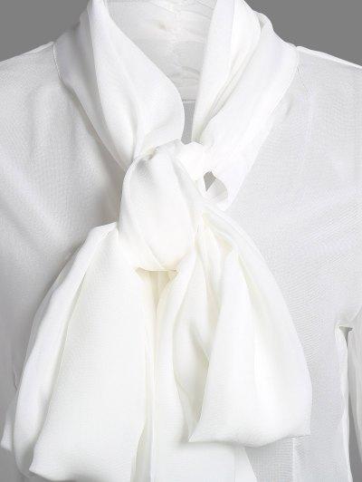 Bow Tie See-Through Blouse - WHITE XL Mobile