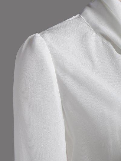 Bow Tie See-Through Blouse - WHITE M Mobile