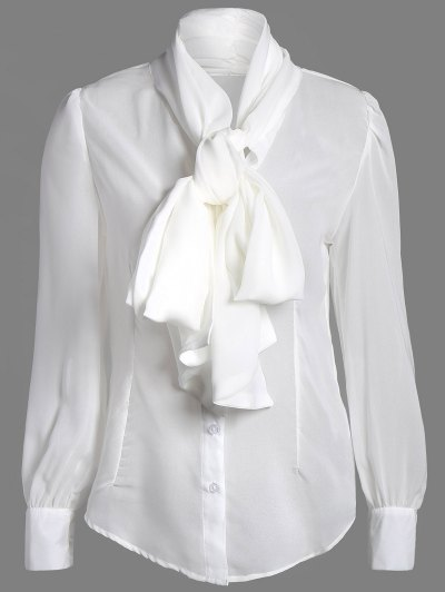 Bow Tie See-Through Blouse - WHITE S Mobile