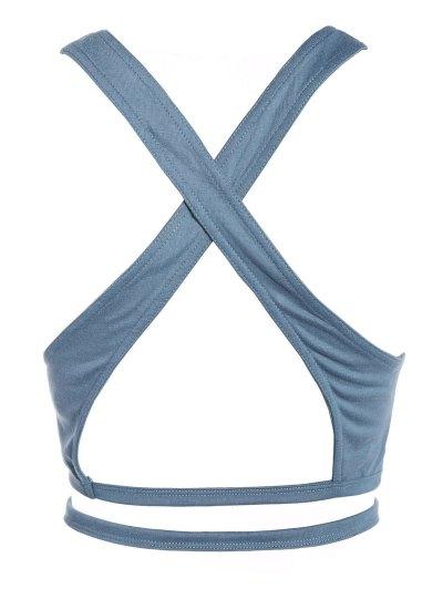 Cross Criss Gym Crop Top - BLUE GRAY L Mobile