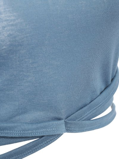Cross Criss Gym Crop Top - BLUE GRAY S Mobile