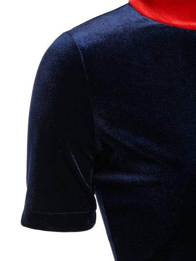 Fitting Velvet A-Line Dress - CADETBLUE 2XL Mobile
