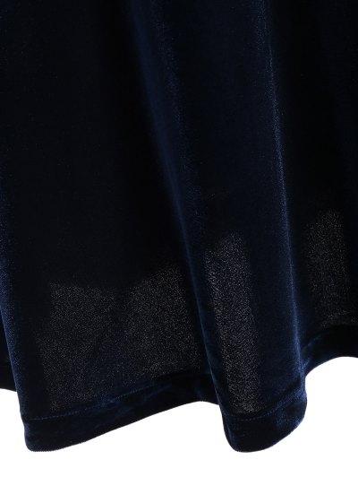 Fitting Velvet A-Line Dress - CADETBLUE L Mobile