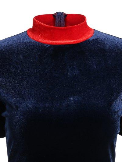 Fitting Velvet A-Line Dress - CADETBLUE S Mobile