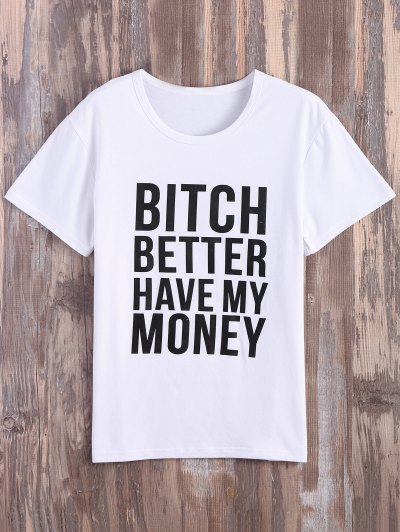 Text Print Graphic Tee - WHITE L Mobile