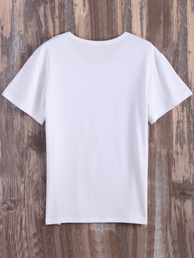 Text Print Graphic Tee - WHITE M Mobile
