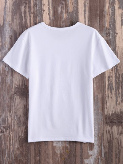 Roll  Sleeve Text Graphic Tee - WHITE 3XL Mobile