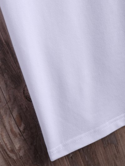 Roll  Sleeve Text Graphic Tee - WHITE M Mobile