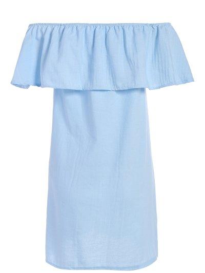 Ruffled Off The Shoulder Mini Dress - LIGHT BLUE S Mobile
