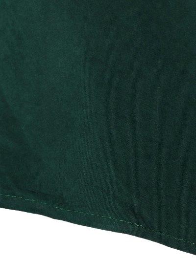 Tie Belt Midi Shirt Dress - DEEP GREEN 2XL Mobile