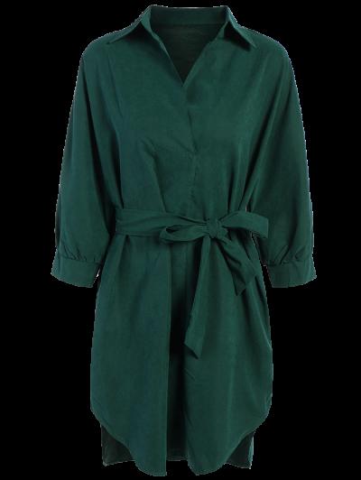 Tie Belt Midi Shirt Dress - Deep Green