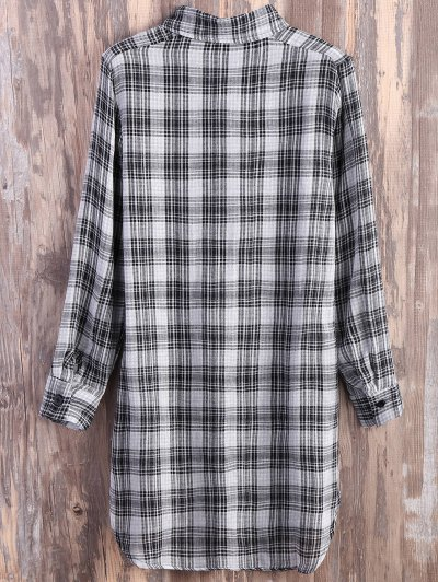 Pocket Checked Shirt Dress - GREY AND WHITE S Mobile