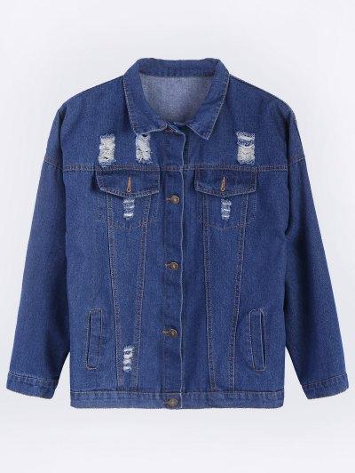 Frayed Pockets Denim Shirt Jacket - DEEP BLUE 2XL Mobile