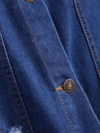 Frayed Pockets Denim Shirt Jacket - DEEP BLUE XL Mobile
