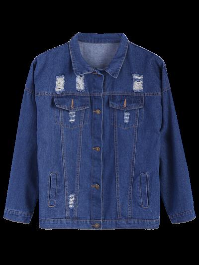 Frayed Pockets Denim Shirt Jacket - DEEP BLUE L Mobile