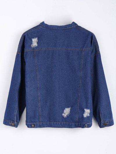 Frayed Pockets Denim Shirt Jacket - DEEP BLUE M Mobile