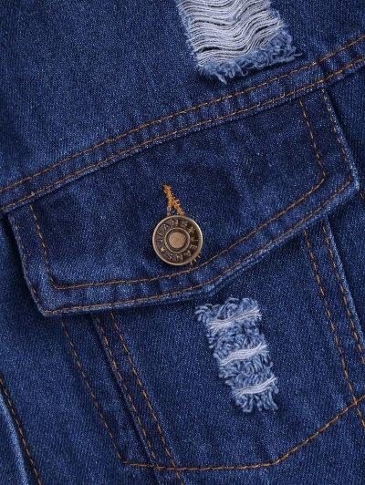 Frayed Pockets Denim Shirt Jacket - DEEP BLUE S Mobile