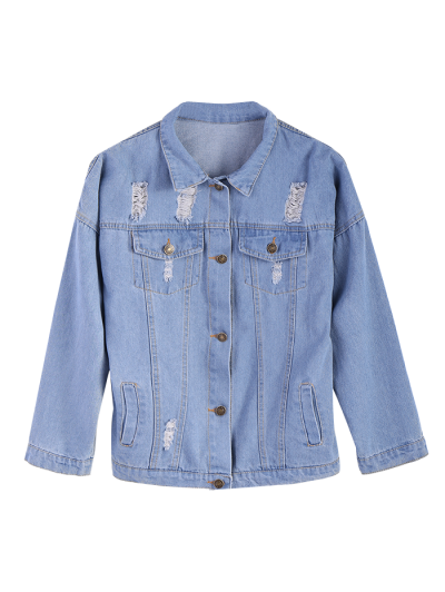 Frayed Pockets Denim Shirt Jacket - LIGHT BLUE M Mobile