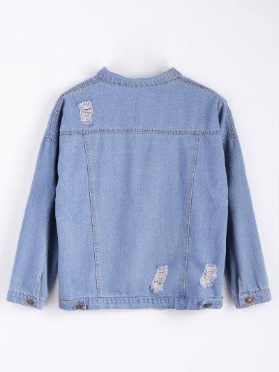 Frayed Pockets Denim Shirt Jacket - LIGHT BLUE S Mobile
