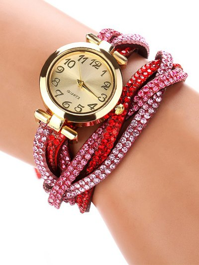 Rhinestone Studded Wrap Bracelet Watch - RED  Mobile
