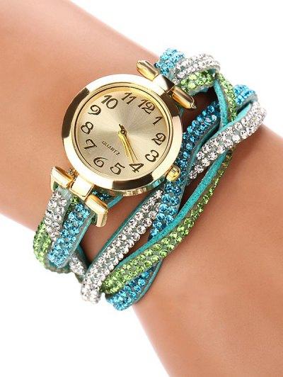 Rhinestone Studded Wrap Bracelet Watch - GREEN  Mobile