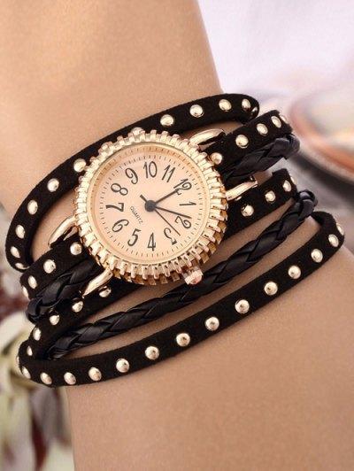 Rivet Studded Layered Bracelet Watch - BLACK  Mobile