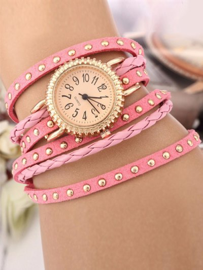 Rivet Studded Layered Bracelet Watch - PINK  Mobile
