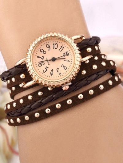 Rivet Studded Layered Bracelet Watch - BROWN  Mobile
