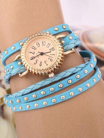 Rivet Studded Layered Bracelet Watch - AZURE  Mobile