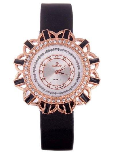 Faux Leather Flower Quartz Watch - BLACK  Mobile