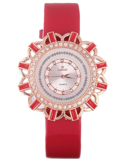 Faux Leather Flower Quartz Watch - RED  Mobile